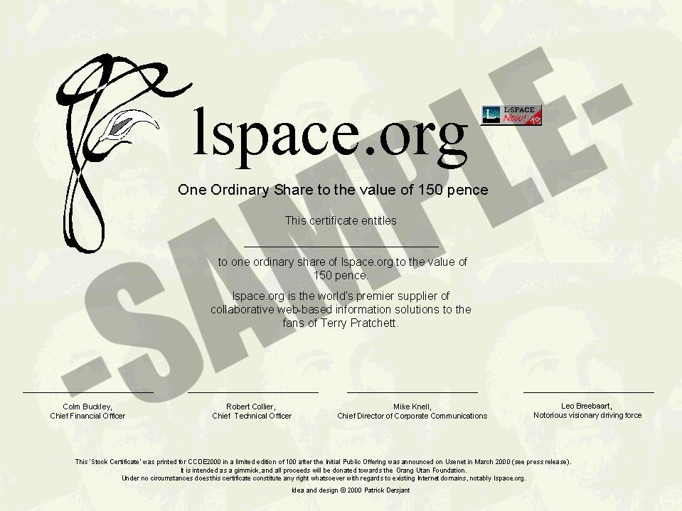 L Space Stock Certificates On Auction